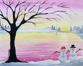 snowmans by lake