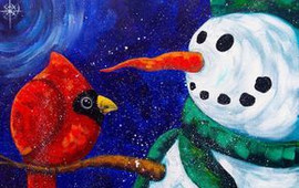 snowman with chubby cardinal