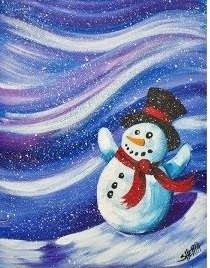 snowman in blizzard
