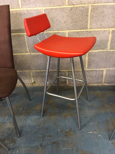 Retro red & grey metal bar stool