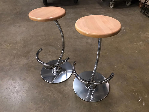 Giresole Sgb Chrome & Beech Stool - Finished