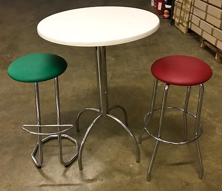 Chrome, White, Red & Green kitchen table & stools