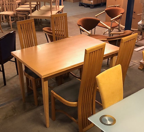 Beech table and 4 high back slatted chairs