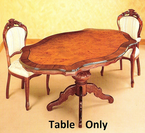 Dining Table Only  - 1.75cm Shaped Radica  Burr effect pattern