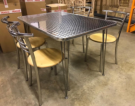 Aluminum & Chrome dining set with and 4 chrome chairs