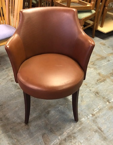 Round tub armchair brown faux leather