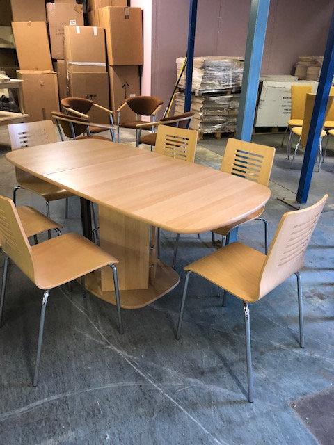 Large extending melamine beech colour table & 6 chrome & beech chairs