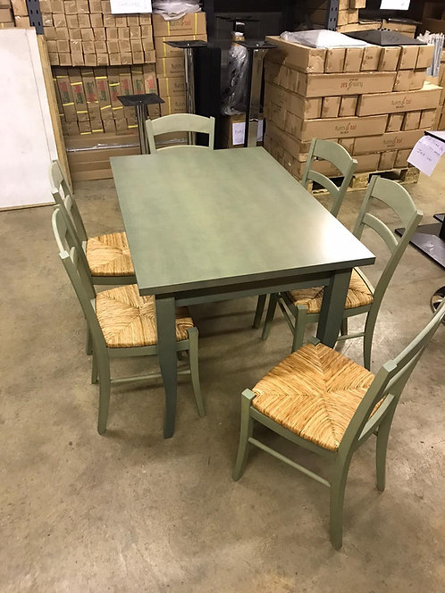 Pale green kitchen table & 6 chairs