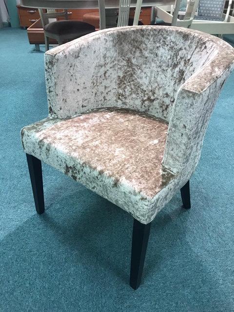 Silver crushed velvet tub armchair