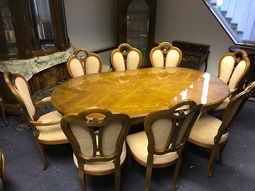 2m Oval table & 8 chairs
