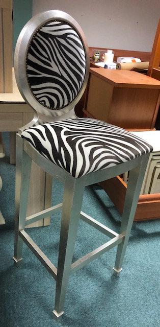 Silver & Zebra print bar stool