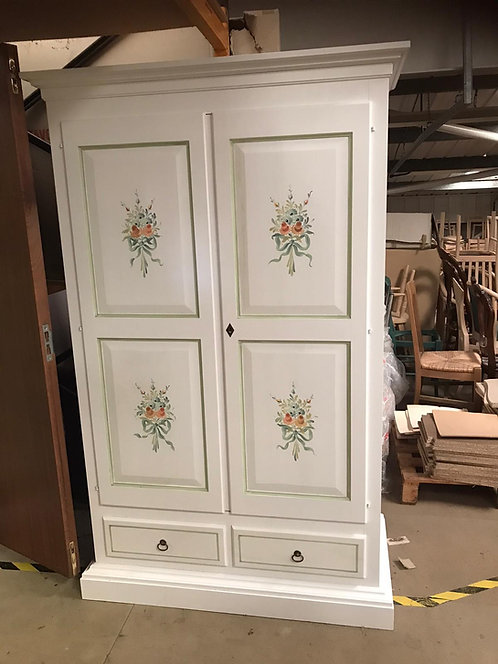 White hand painted 2 door wardrobe