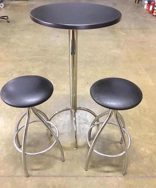 Chrome & Black tall kitchen table & 2 stools