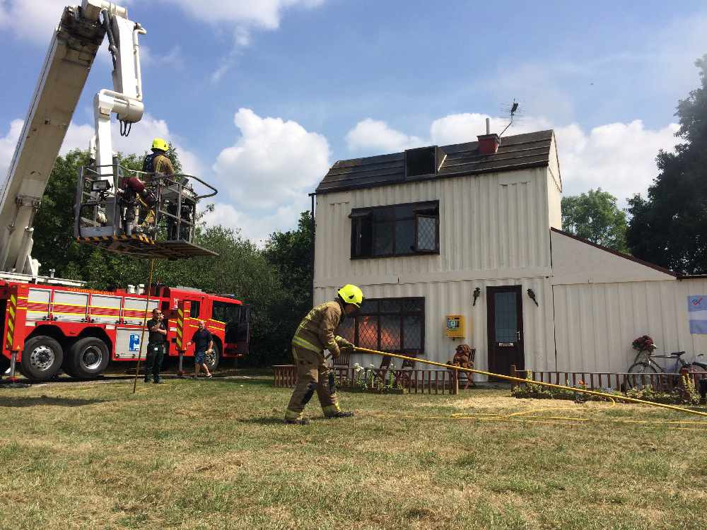 Humberside Fire & Rescue Service dealing with a mock house fire incident at Rescue Day 2018
