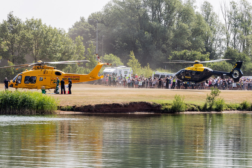 Lincs & Notts Air Ambulance and Police NPAS helicopters at Rescue Day 2018.