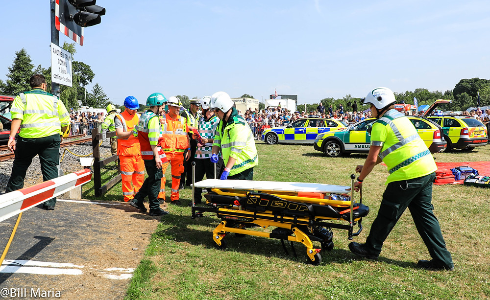 Emergency and rail specialist teams work at the scene of a mock level crossing incident at Rescue Day 2018.