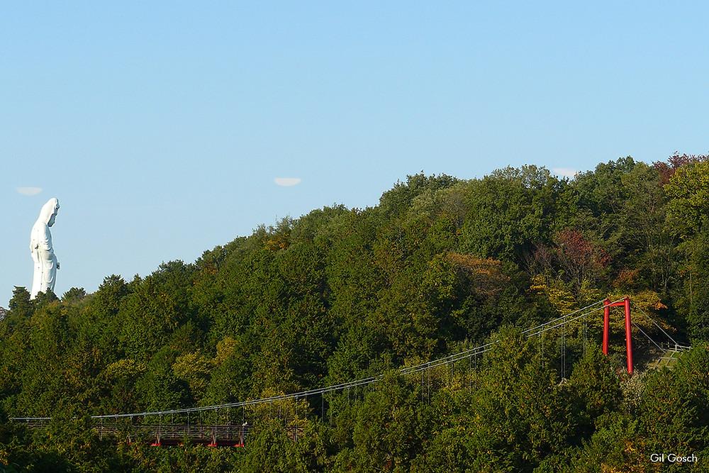 Vista do monte Kannonyama, parte do complexo do Jardim Botânico, onde podemos avistar a estátua sagrada Byakui Daikannon, representação do ser iluminado da compaixão.