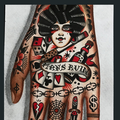 left hand tattoo concept traditional tattoo