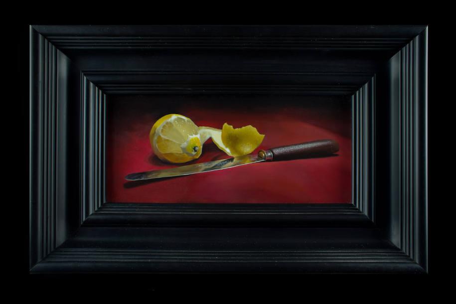 lemon and knife oil painting