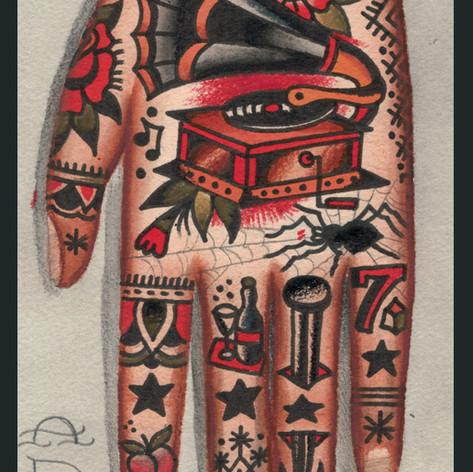 left hand tattoo concept