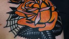 rose shoulder yellow tattoo