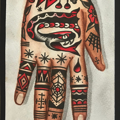 right hand tattoo concept traditional tattoo