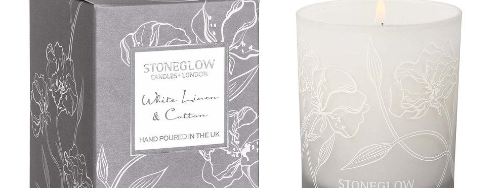 Stoneglow White Linen & Cotton Tumbler Candle