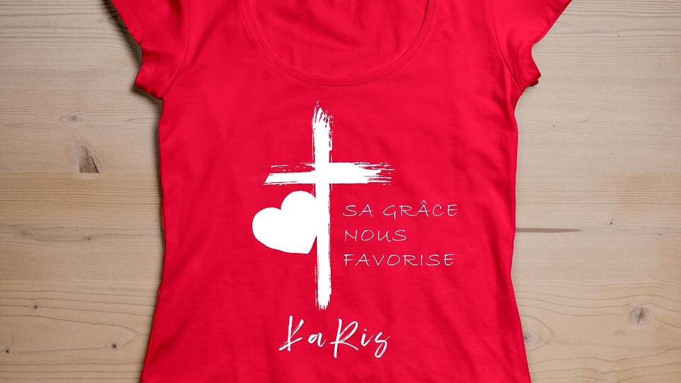 """T-shirt KARIS """" Sa grâce nous favorise"""" Rouge"""