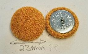 Golden yellow Harris Tweed buttons x6
