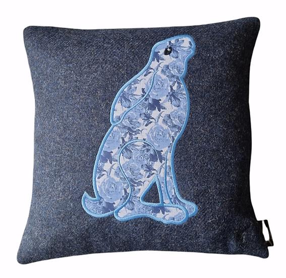 Hare on Harris Tweed cushion