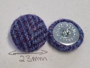 Purple/lilac Harris Tweed buttons x6