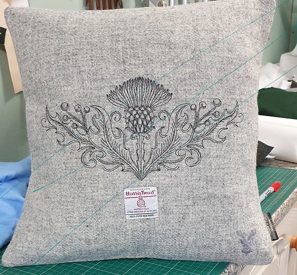 Thistle embroidered Harris Tweed Cushion.