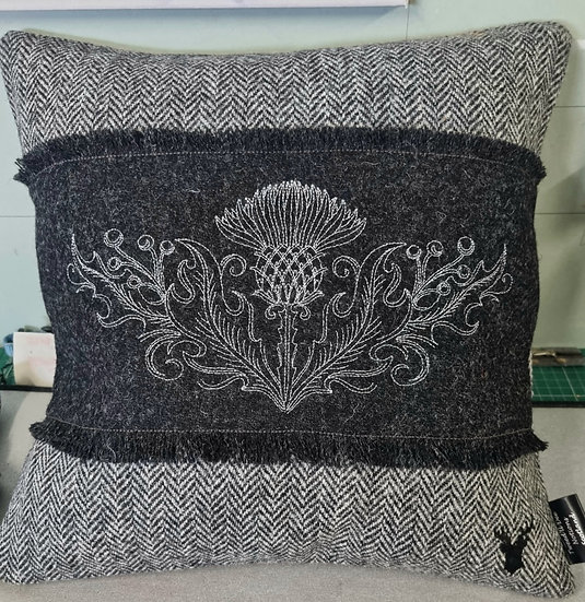 Grey herringbone with charcoal.  Silver Thistle