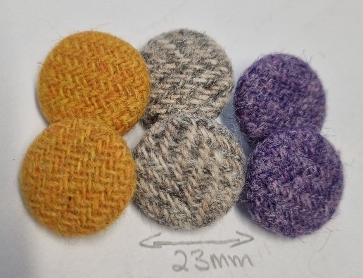 Mix pack Harris Tweed buttons x6