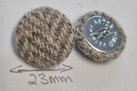 Grey Herringbone buttons x6