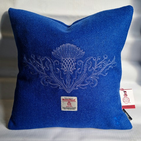 Royal Blue Tweed, white embroidered thistle