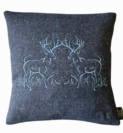 Twin stags, Harris Tweed cushion