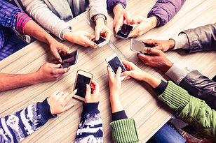 Top view hands circle using phone in caf