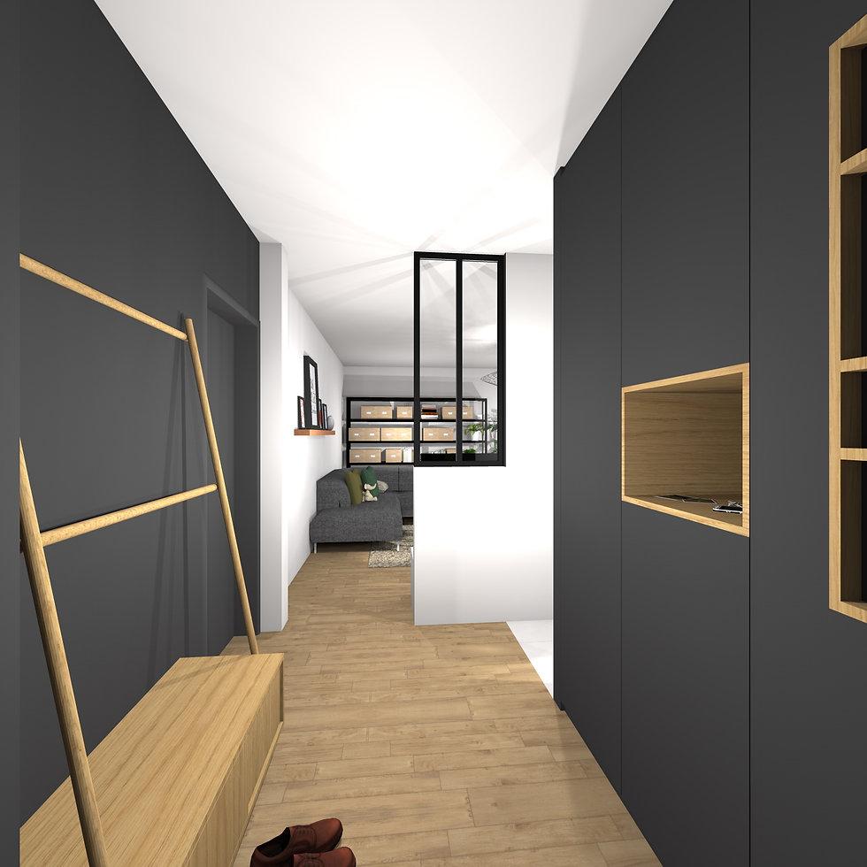 Ondine Rebillard Architecte d'intérieur et décoratrice à Lyon - Rénovation de la pièce à vivre avec la création d'une cuisine ouverte avec îlot et espace repas