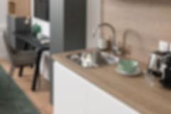 Ondine Rebillard, architecte d'intérieur et décoratrice à Lyon présente : Le chêne blanc.  Pour cet appartement nous n'avons rien conservé de l'existant. Les pièces ont été complètement redistribuées afin de rendre ce petit studio de 18 m2 le plus fonctionnel possible. Nous avons ainsi pu créer une cuisine très fonctionnelle, une grande salle de bain et un coin bureau face au lit, accompagné de quelques rangements. La vue sur le jardin dont dispose l'appartement m'a donné envie de laisser entrer la nature dans l'appartement grâce à quelques éléments de décoration.