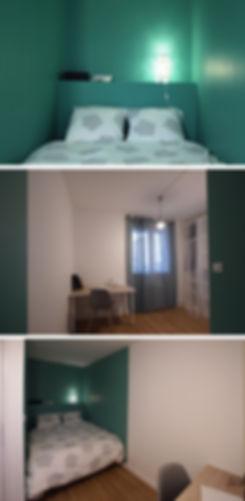 Cet appartement de 75 m² disposait de trois chambres, une salle de bain, un wc séparé, une cuisine fermée, ainsi qu'un grand salon. L'objectif de mon client, investisseur, était de créer une quatrième chambre afin d'augmenter la rentabilité du bien qu'il souhaitait transformer en colocation. Ondine Rebillard Architecte d'intérieur à Lyon