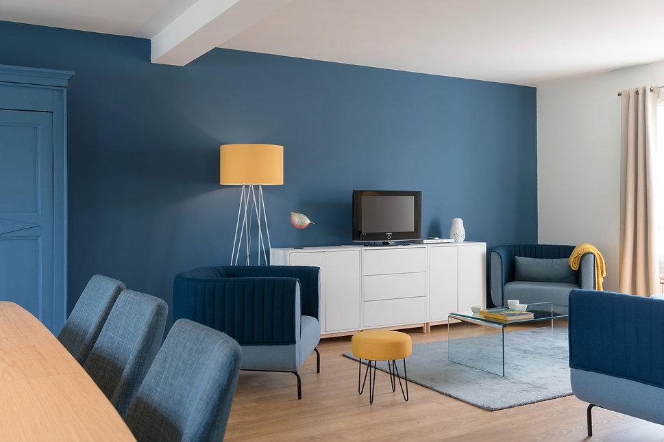 Ondine Rebillard Architecte d'intérieur et décoratrice à Lyon (Chasselay). Rénovation du rez-de-chaussée d'une maison. Ouverture de la cuisine sur le séjour, décoration et ameublement.