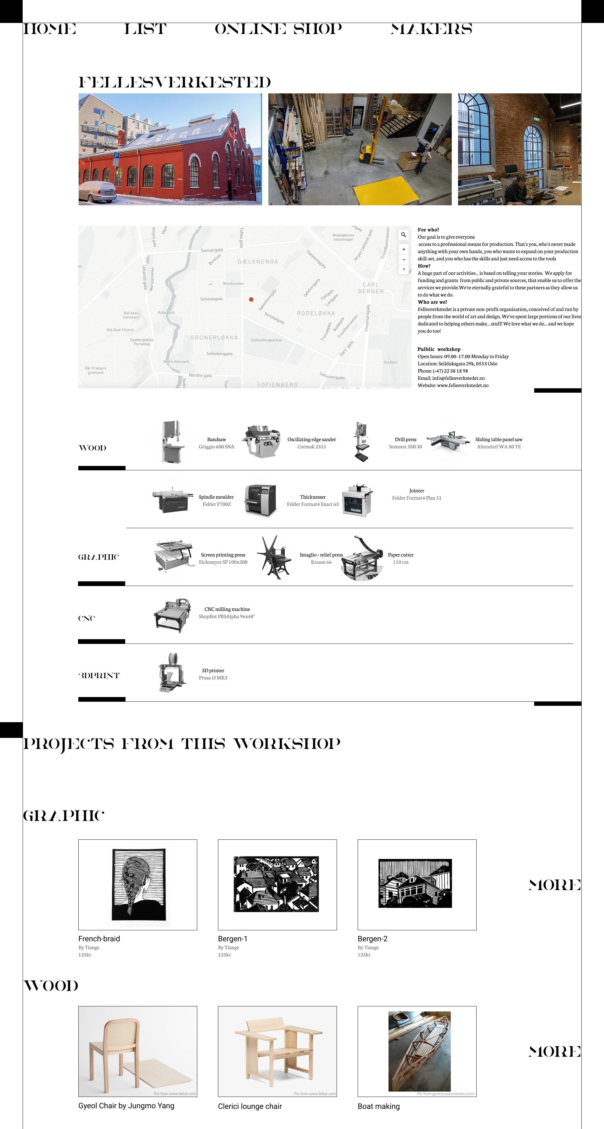 single workshop page