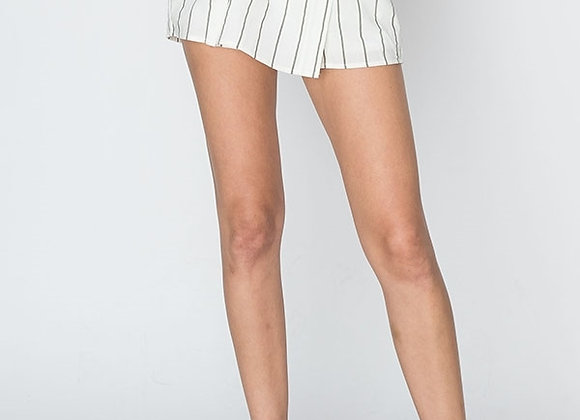 ALWAYS YOURS CHARCOAL STRIPED SKORT