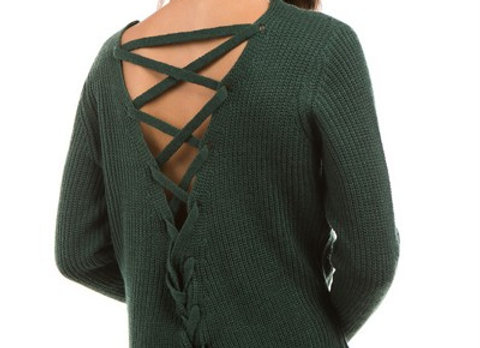 Lace me up Sweater Green