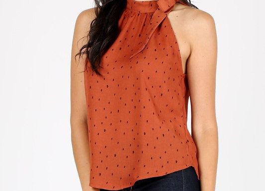 Polka dot mock neck tie Top