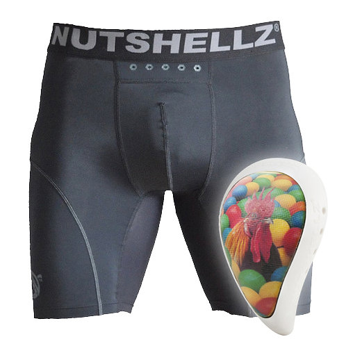 Nutshellz®  Level1 brown/yellow cock and balls white surround cup and jock combo