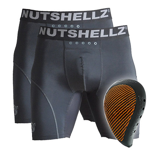 Nutshellz® LEVEL 1 BLACK AND  ORANGE AND 2 JOCK COMBO