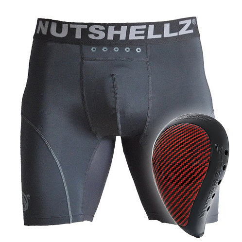 Nutshellz® LEVEL 1 BLACK AND RED CARBON AND JOCK SHORT COMBO