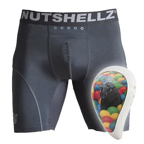 Nutshellz®  Level1 black cock and balls white surround cup and jock combo